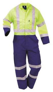 Protex Polycotton Day Night Overall Royal/Fluoro Yellow