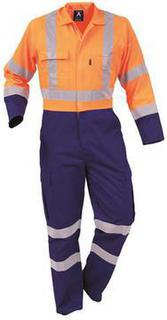 Protex Polycotton Day Night Overall Royal Fluoro Orange