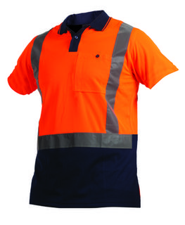 Argyle D/N Polo 100% Polyester Orange Navy