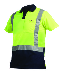 Argyle D/N Polo - 100% Polyester Yellow Navy