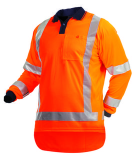 100% Polyester Hi Vis L/S140gsm Polo Orange