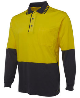 Hi Vis Long Sleeve Cotton Polo Lime Navy