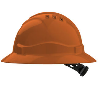 Full Brim V6 Vented Hard Hat 6 Point Harness Orange