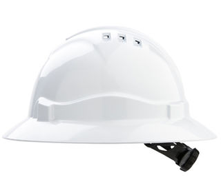 Full Brim V6 Vented Hard Hat 6 Point Harness White