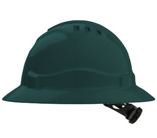 Full Brim V6 Vented Hard Hat 6 Point Harness Green