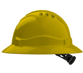 Full Brim V6 Vented Hard Hat 6 Point Harness Yellow