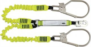 2m Double Leg Elasticated Shock Lanyard, 1 D/A & 2 Scaffold Hooks