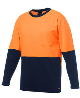 JB's Hi Vis L/S Traditional T-Shirt Orange Navy