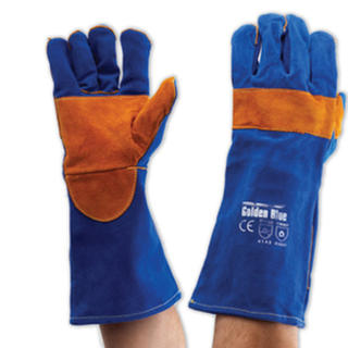 Pyromate Blue Heeler Welding Gloves Blue & Gold Kevlar