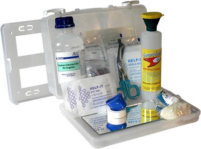 Eye Wash Kit in a clear wall-mountable box