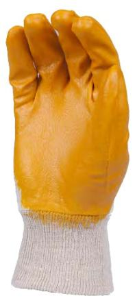 Gloves 100% Cotton Knitted 13G Yellow Nitrile Coating Open Back