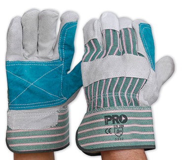 Gloves Heavy Duty Reinforced Palm Green & Grey Stripe