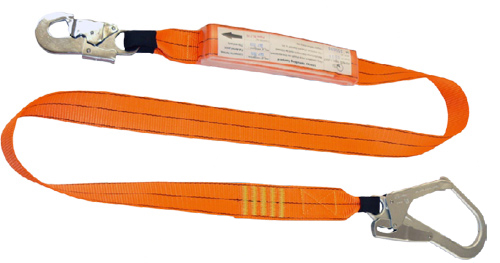 1.5m shock absorbing lanyard with 1 double action hook and 1 scaffolding hook