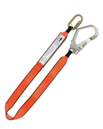 1.5m shock absorbing lanyard with 1 triple action carabineer and 1 scaffolding hook