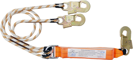 2m double leg shock absorbing lanyard with 3 double action hooks
