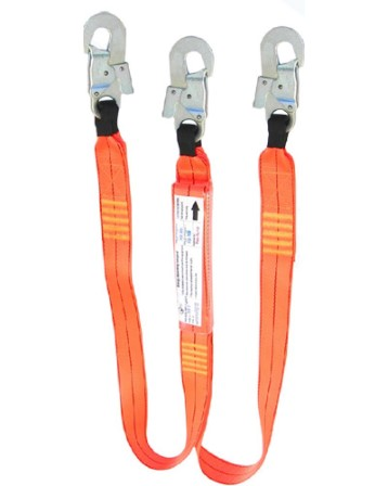2m double leg shock absorbing lanyard with 3 double action hooks 150kg