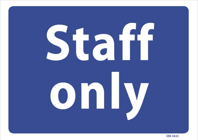 Staff Only 340x240mm