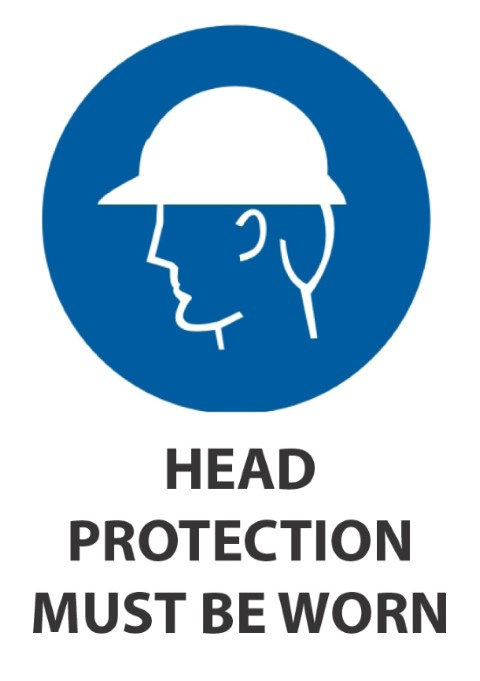 Head Protection Must Be Worn 340x240mm
