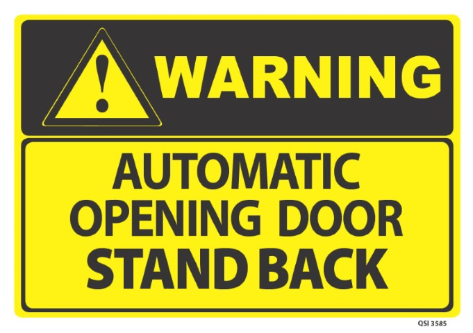 Warning Automatic Door Opening 340x240mm