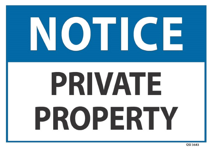 Notice Private Property 240x340mm