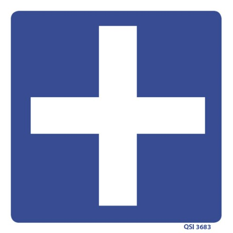 Blue First Aid Cross 180 x 180mm