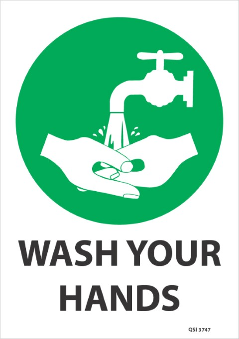 Wash your hands (green) 340x240mm