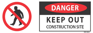 Danger-Keep Out- Construction Site 340x120mm