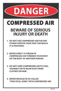 Danger Compressed Air Instructions 300 x 450mm