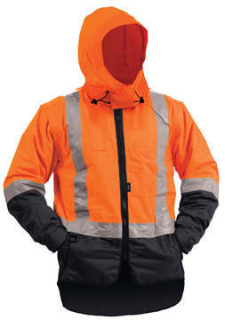 Bison Stamina lined Vest With Hood Rainwear Orange Navy