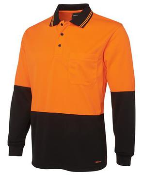Hi Vis Long Sleeve Cotton Polo Orange Navy