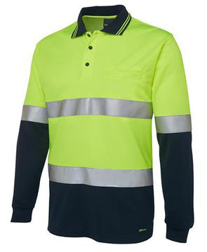 Hi Vis L/S (D+N) Traditional Polo Lime Navy