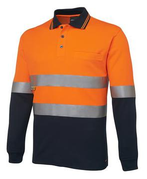 Hi Vis L/S (D+N) Traditional Polo - Orange/Navy