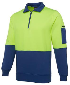 Hi Vis 1/2 Zip Fleecy Sweat-Select Colour