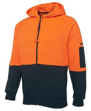 Hi Vis Full Zip Fleecy Hoodie Orange Navy
