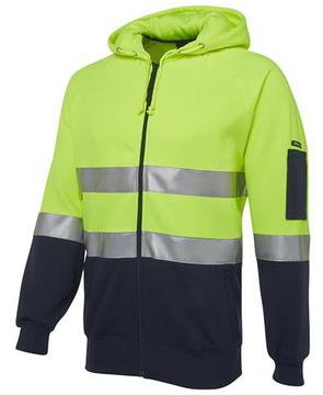 Hi Vis (D+N) Full Zip Fleecy Hoodie Lime Navy