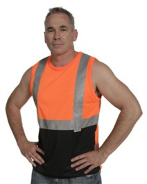 Microfibre Singlets With Reflective Tape Orange Navy