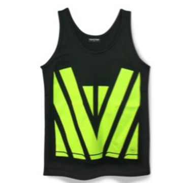 Hi Vis Cotton Singlet Black Yellow