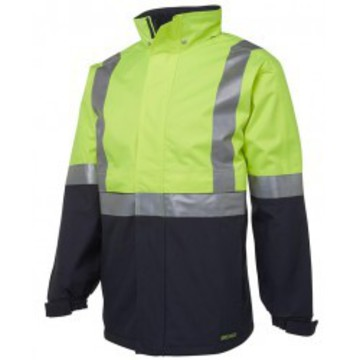 Hi Vis Rain Jacket Day Night With Hood Lime Navy