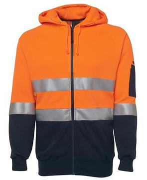 Hi Vis (D+N) Full Zip Fleecy Hoodie Orange Navy