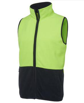 Hi Vis Polar Fleece Vest Lime Navy