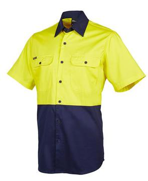 Hi Vis S/S Shirt Yellow Navy