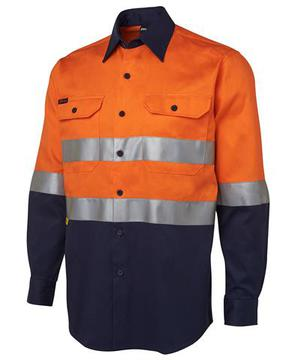 Hi Vis (D+N) L/S 190G Shirt Orange Navy