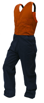 100% Day Only Cotton Bib Overall Navy Orange