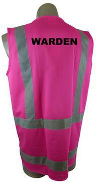 Safety Vest Hi Viz Day Night Pink Printed