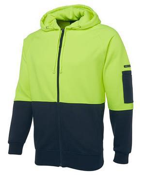 Hi Vis Full Zip Fleecy Hoodie Lime Navy