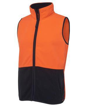 Hi Vis Polar Fleece Vest Orange Navy