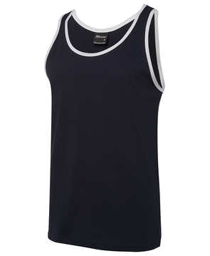 JB's 100% Cotton Singlet Navy White