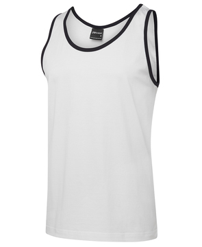 JB's 100% Cotton Singlet White Navy