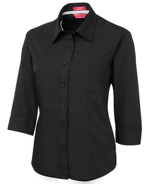 JB's Ladies Contrast Placket 3/4 Sleeve Shirt Black/White