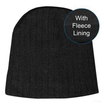 Cable Knit Skull Beanie Black